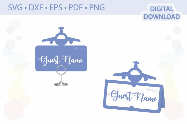 Airplane Place card template .svg .dxf .eps .pdf .png