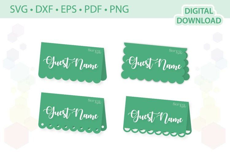 Scalloped Place card templates set .svg .dxf .eps .pdf .png