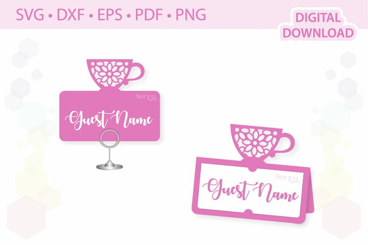 Tea party Place card template .svg .dxf .eps .pdf .png