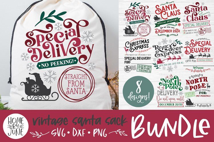Christmas Santa Sack Bundle - 8 Designs SVG DXF PNG example image 1
