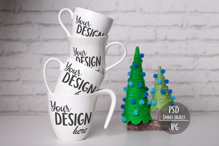 Stacked Mugs Mockup with Christmas Trees