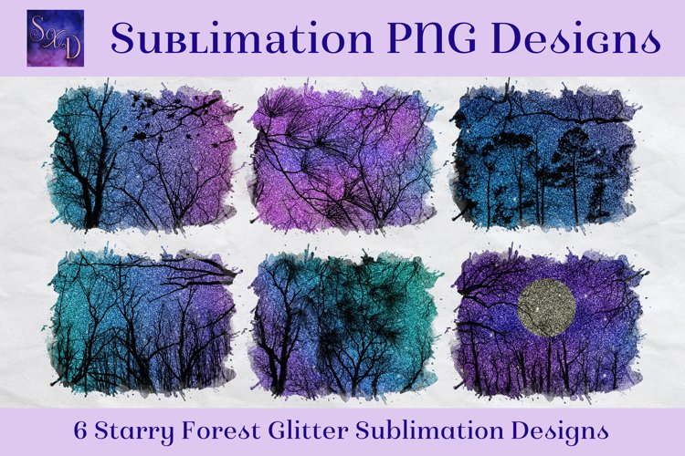 Sublimation PNG Designs - Starry Forest Glitter example image 1