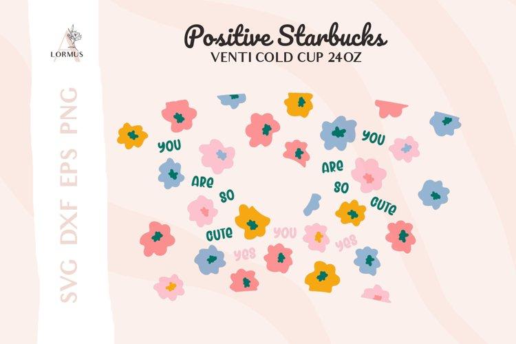 Floral svg, Venti cold cup svg 24 oz, Wildflower svg, Kawaii