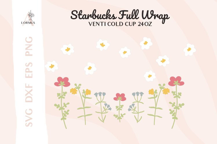Floral svg, Venti cold cup svg 24 oz, full wrap template svg