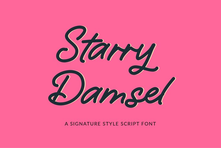 Starry Damsel - a signature script font example image 1