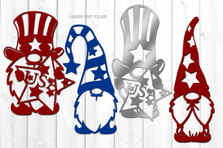 4th Of July Garden Gnome SVG Bundle Laser Cut Files example image 1