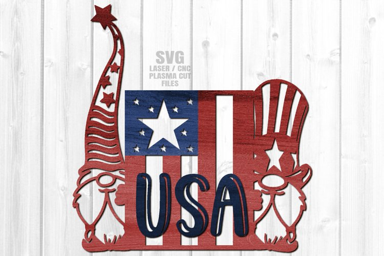 USA American Flag Garden Gnome Sign SVG Glowforge Files example image 1