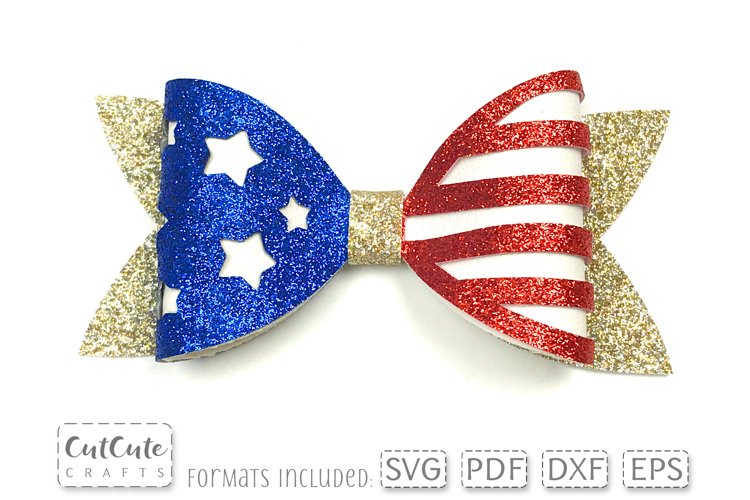 Stars and Stripes Bow SVG Templates cut files, 4th of July