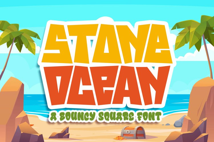 Stone Ocean a Bouncy Square Font example image 1