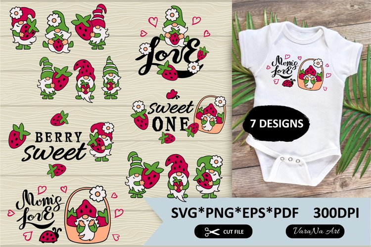 Summer gnomes with strawberry designs. SVG and PNG files.