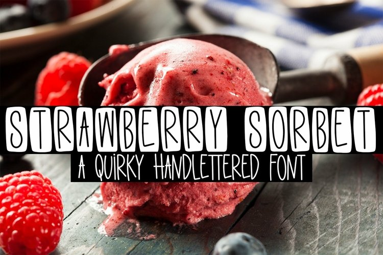 Web Font Strawberry Sorbet - A Quirky Handlettered Font example image 1