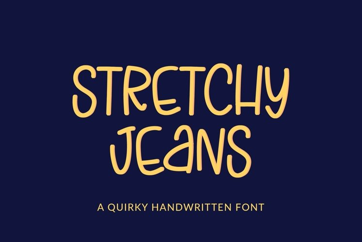 Web Font Stretchy Jeans - a skinny tall quirky handwritten f example image 1