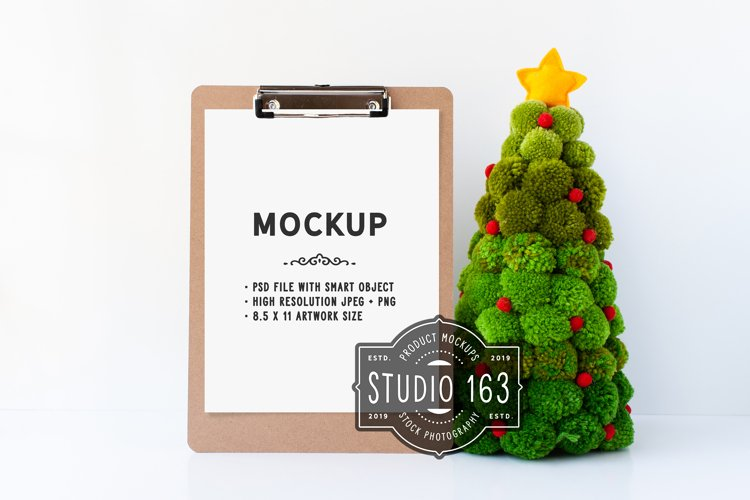 Clipboard Mockup, Christmas, JPG and PSD Smart Object example image 1