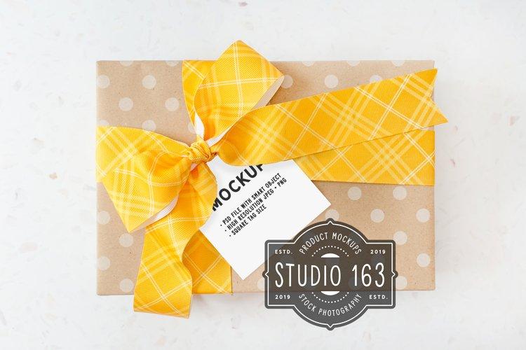 Square Tag Mockup | Gift Tag Mockup | PSD Smart Object example image 1