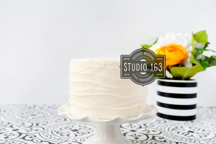 Cake Topper Mockup, White Cake Stock Photo with Flowers example image 1