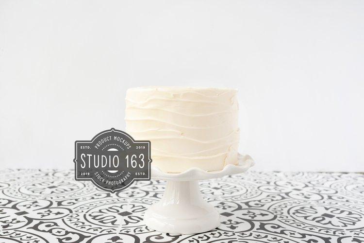 Cake Topper Mockup, White Cake Stock Photo Vintage Style example image 1