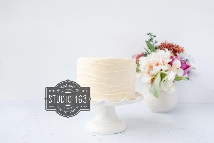 Cake Topper Mockup, White Cake Stock Photo, Elegant example image 1