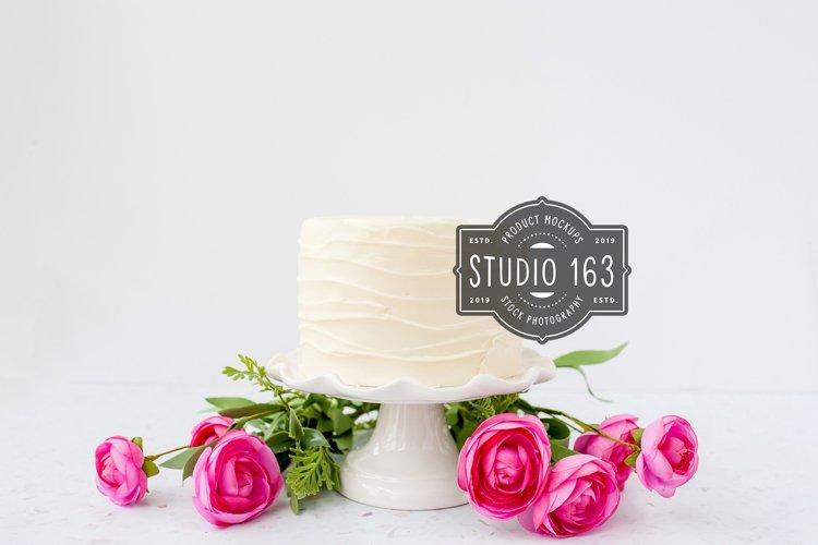 Cake Topper Mockup, White Cake Stock Photo, Pink Roses example image 1
