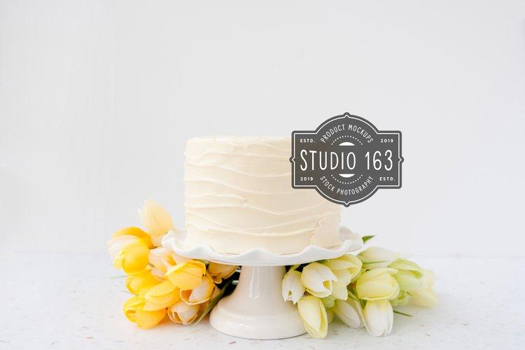 Cake Topper Mockup, White Cake Stock Photo with Tulips, JPEG example image 1