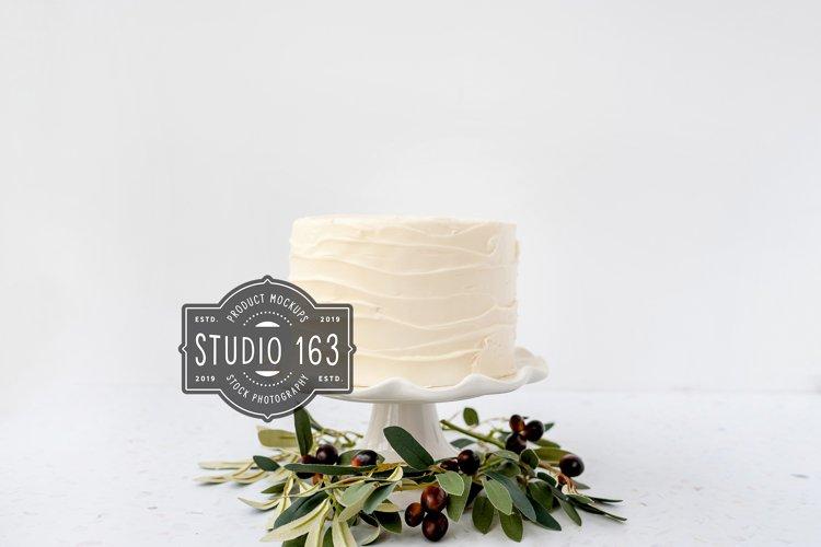 Cake Topper Mockup, White Cake Stock Photo, JPEG example image 1