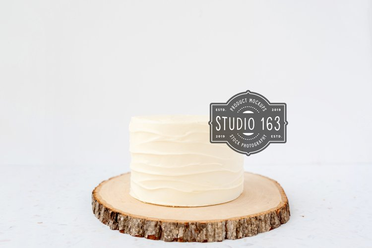 Cake Topper Mockup, White Cake Stock Photo, Rustic example image 1