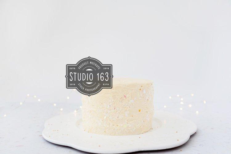 Cake Topper Mockup, White Cake Stock Photo, Twinkle Lights example image 1