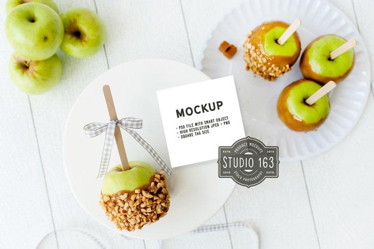 Square Tag Mockup   Food Label Mockup   Caramel Apple example image 1