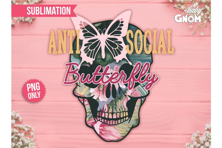 Anti-social Butterfly Sub, Vintage Sublimation, Tropical PNG