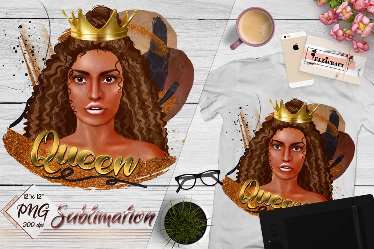 African American Queen, Afro Girl Sublimation Designs