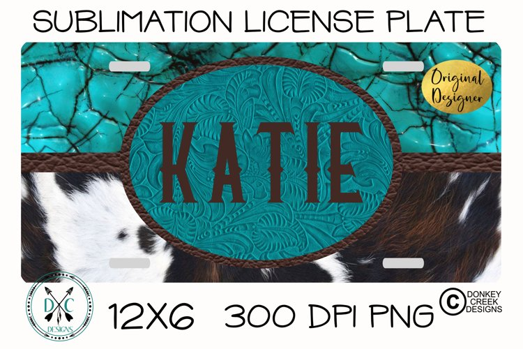 Sublimation Monogram License Plate -Turquoise & Cowhide PNG