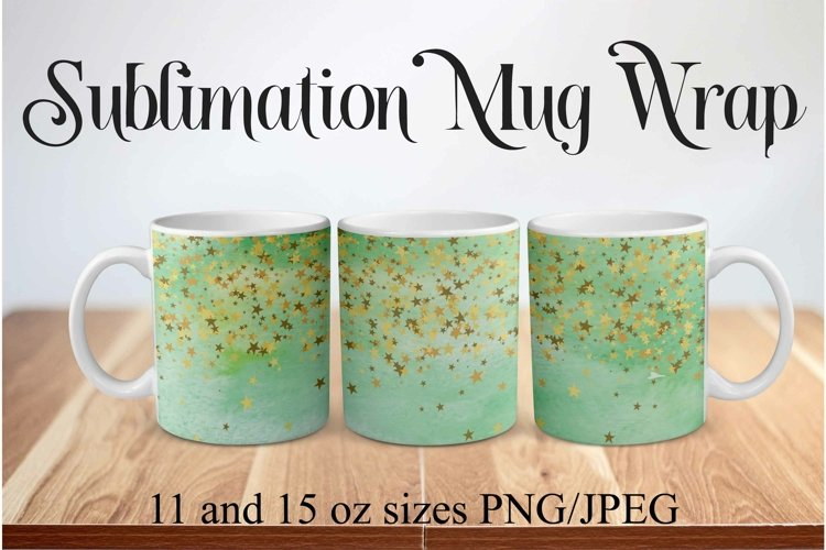Sublimation Mug Wrap PNG Green Watercolor with Gold Stars example image 1