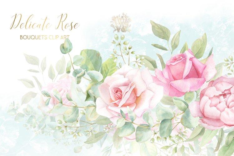 Watercolor wedding bouquet clipart, blush pink rose border
