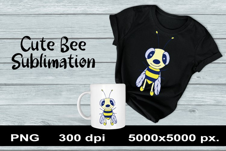 Cute Bee Sublimation PNG Design. Animal Clipart. example image 1