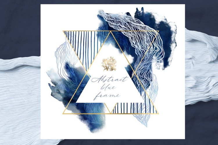 Watercolor abstract blue triangle frame clipart