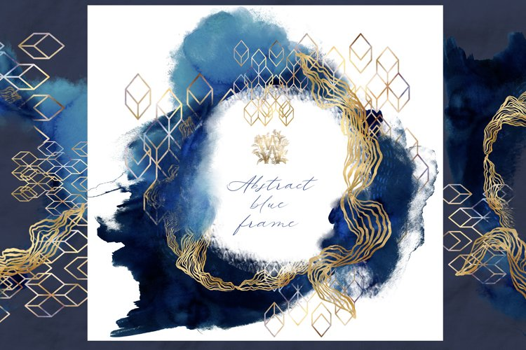 Watercolor abstract blue circle frame clipart