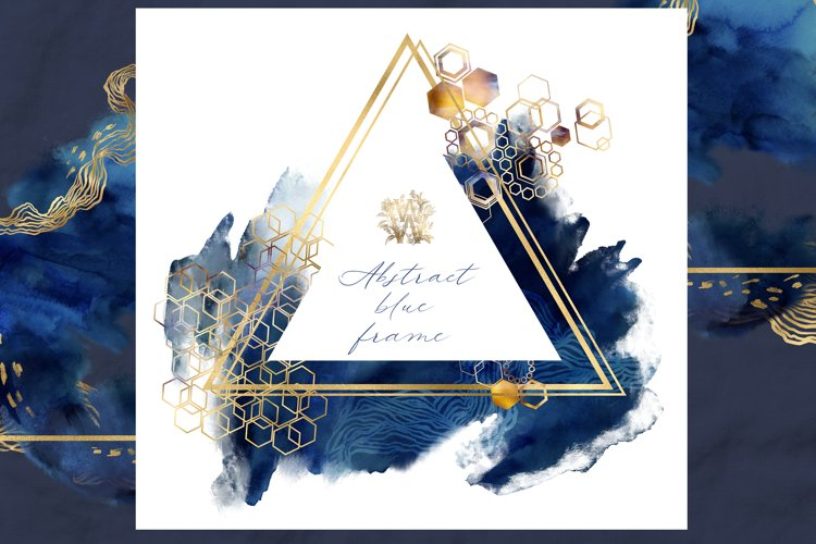 Watercolor geometric triangle frame clipart
