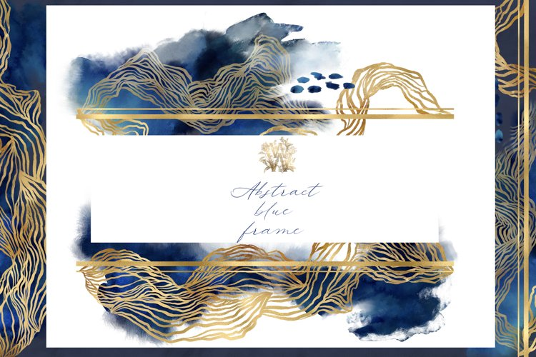 Watercolor abstract blue frame clipart