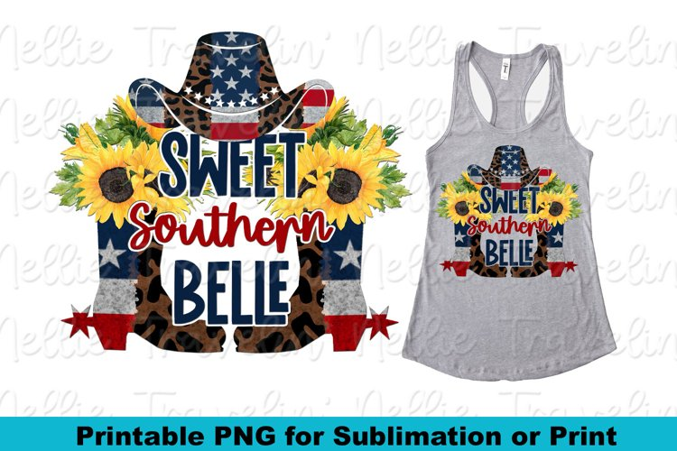 Southern Mama USA Patriotic Sunflower Country Sublimation