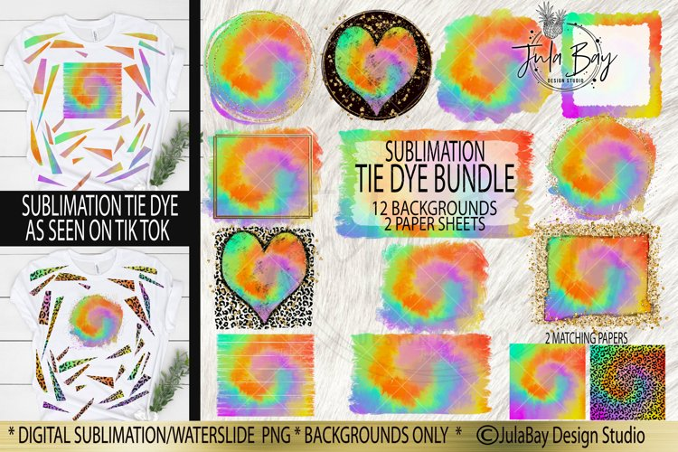Sublimation Tie Dye Bundle Leopard Print Bright Tie Dye