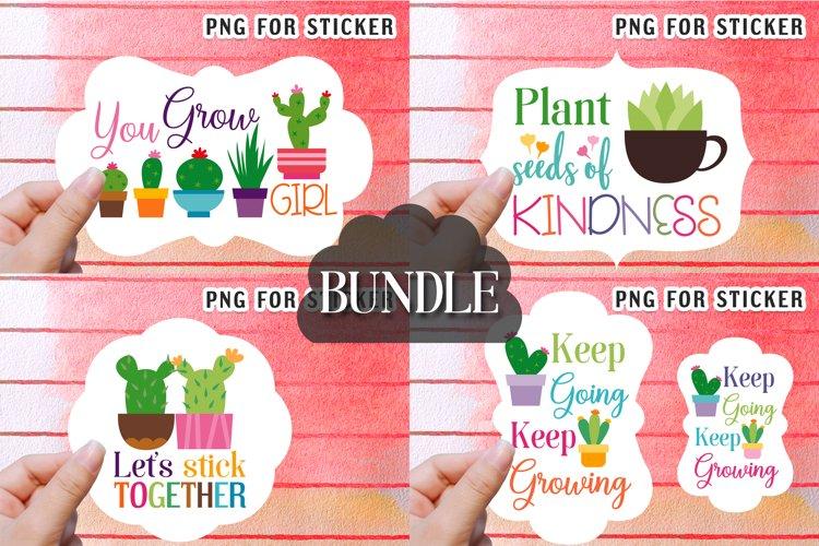 Cactus succulent plant stickers bundle