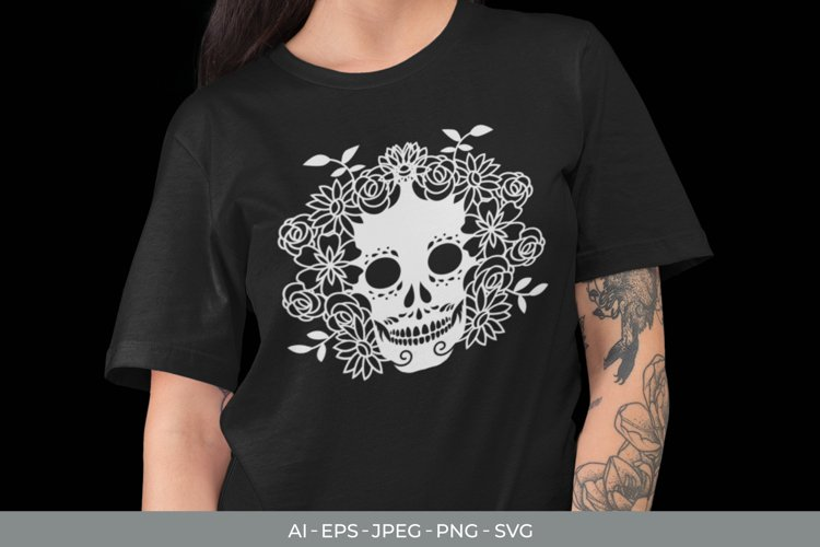 Sugar Skull & Flowers SVG example image 1