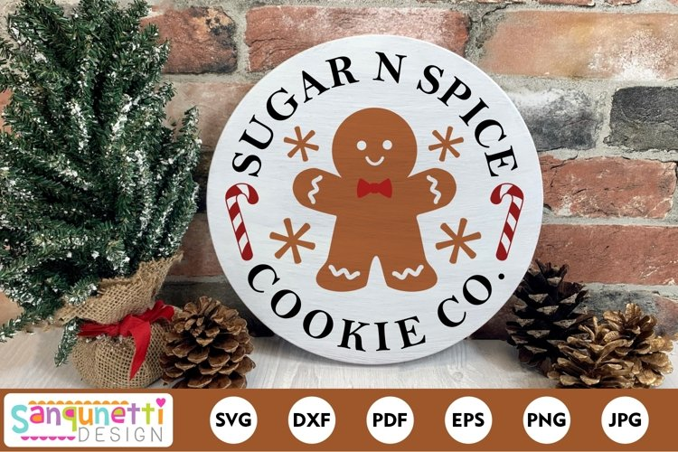 Sugar n Spice Cookie Christmas Round SVG example image 1