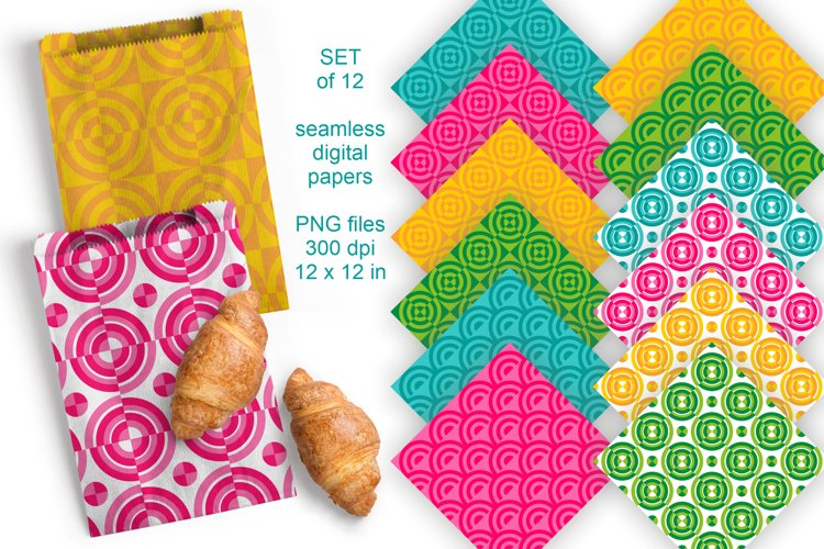 Summer Geometric Seamless Scrapbooking Papers 12 PNG files