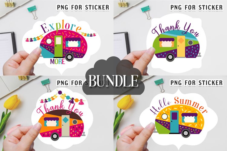 Summer stickers bundle - Happy camper