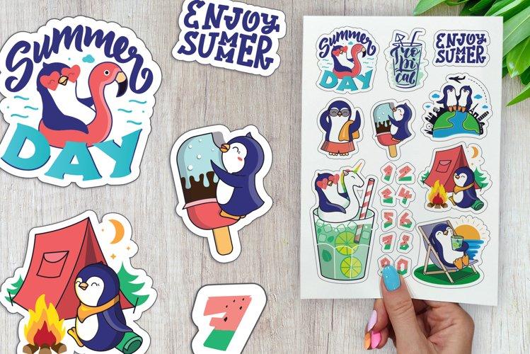 Enjoy summer, tropical. Beach clipart. Summer sticker bundle