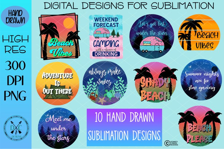 Summer Camping Beach Sublimation Bundle hand drawn PNG files