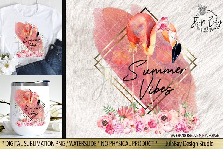 Summer Vibes PNG Flamingo Sublimation Design Rose Gold