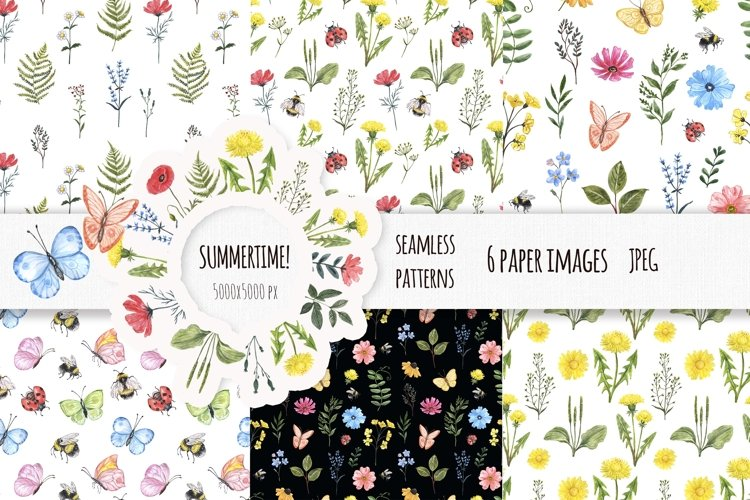 Watercolor Wildflower Seamless Patterns Floral Prints