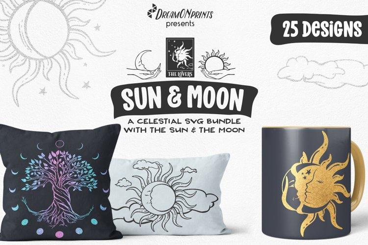 Sun and Moon SVG Bundle   Moon Phases SVG Bundle