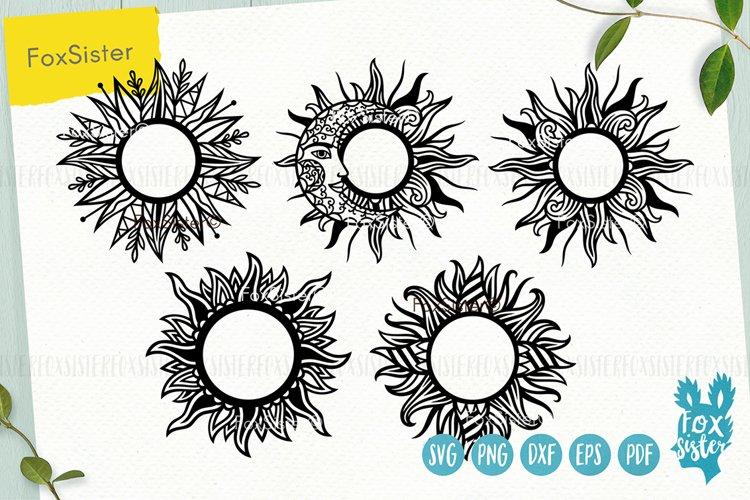 Sun monogram svg bundle, Svg Png Pdf Eps Dxf, celestial svg example image 1